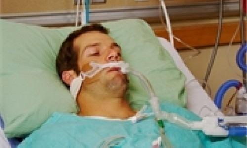 man on respirator