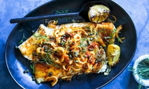 Pan-seared white fish with harissa, fennel and capers