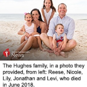 The Hughes family, in a photo they provided, from left: Reese, Nicole, Lily, Jonathan and Levi, who died lin June 2018