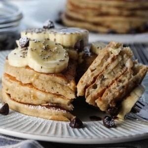 Banana Chocolate Chip Chia Pancakes