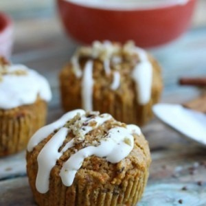 Carrot Ginger Flax Muffins with Cream Cheese Glaze