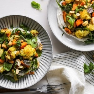 Curried Cauliflower and Sweet Potato Bowls with Cumin Yogurt