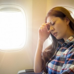 Woman anxious about flying