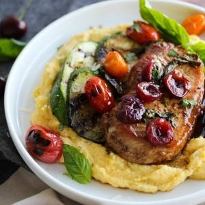 Cherry Balsamic Pork Chops with Herbed Polenta