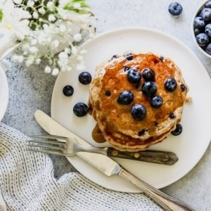 Blueberry chai buttermilk pancakes served on a plate