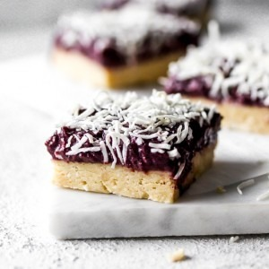 No bake coconut-cashew cherry squares