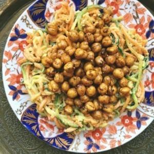 Lemon Tahini Noodles with Roasted Cinnamon Turmeric Chickpeas