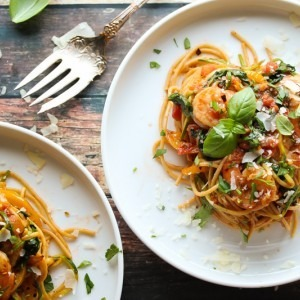 Shrimp Pasta Primavera with Zoodles