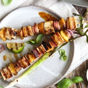 Chili-Lime Tofu and Peach Skewers