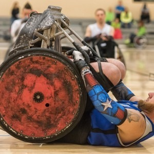 A man particiapting in wheelchair rugby