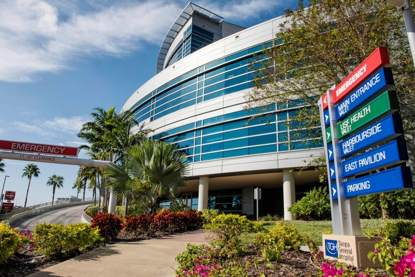 View of the Tampa General Hospital Bayshore Pavilion pedestrian entrance near the emergency room loading ramp