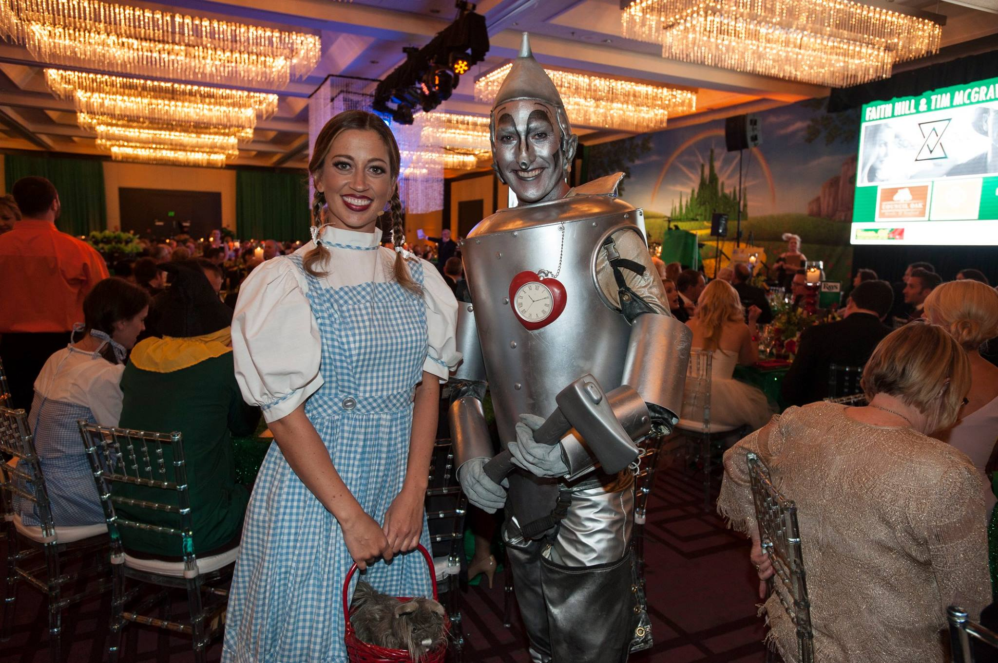 Dorothy and Tin man at the Wizard of Oz gala