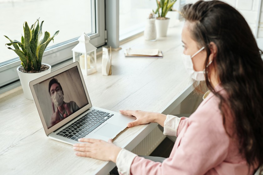 Woman on a video call with a friend
