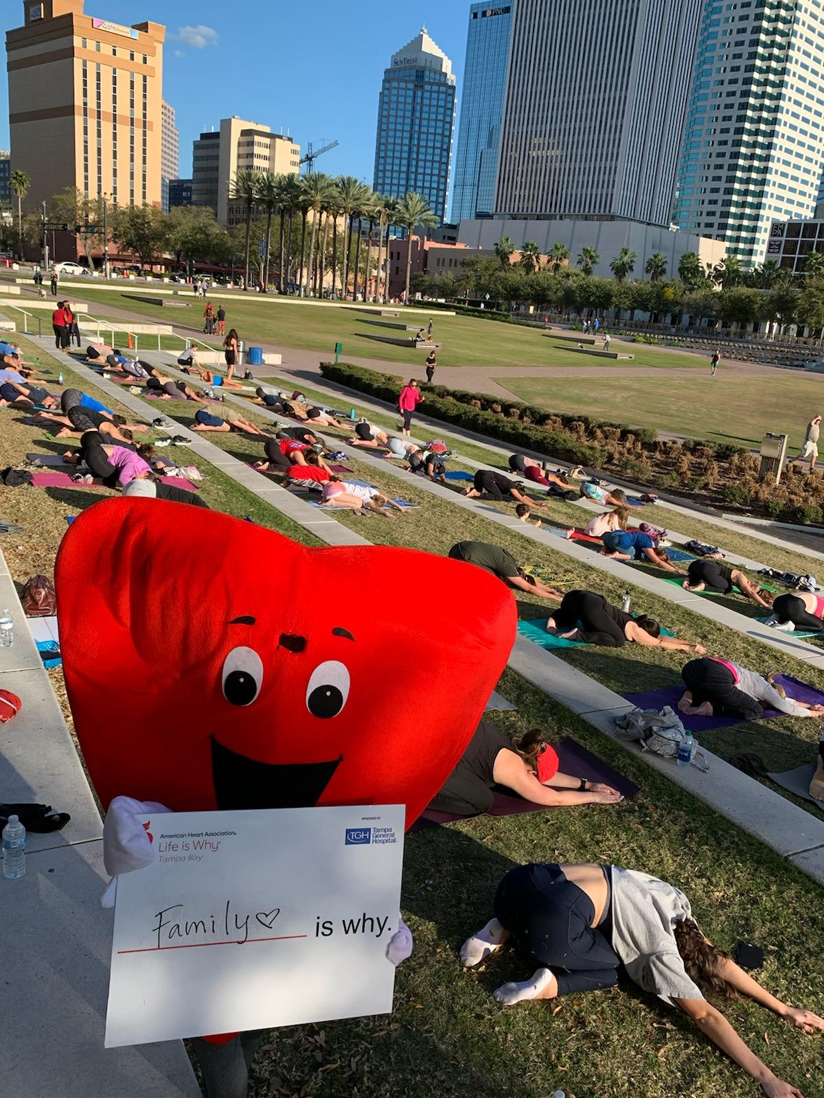 2/9/20 Yoga in the Park with Heart a community collaboration with American Heart Association, Tampa Downtown Partnership and Lucky Cat Yoga